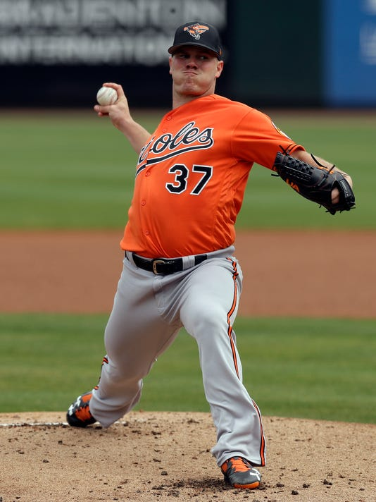Baltimore Orioles' Dylan Bundy goes into his windup against the Pittsburgh Pirates during the first inning of a spring training baseball game Monday, March 12, 2018, in Bradenton, Fla. (AP Photo/Chris O'Meara)