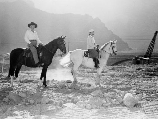 Pearl and Austin McManus observing the construction on the Tahquitz Creek flood project, circa 1947.