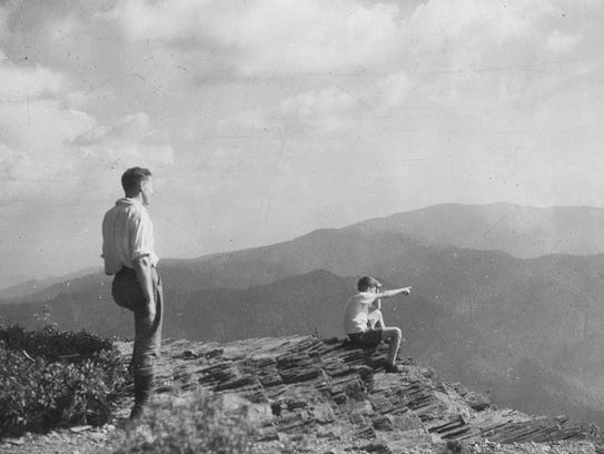 Clingmans Dome is shown in the background of this undated