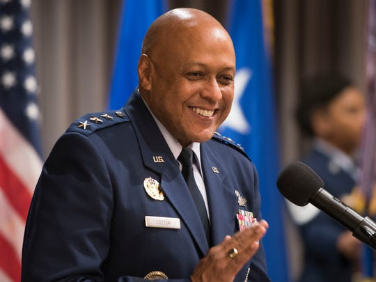 Air University commander, Lt. Gen. Anthony Cotton speaks Monday, July 23, 2018, during an Assumption of Command ceremony for the 42nd Air Base Wing at Maxwell-Gunter Air Force Base. About a month later, Cotton addressed a crowd at the Education Summit, explaining that Montgomery's schools are making his job difficult.
