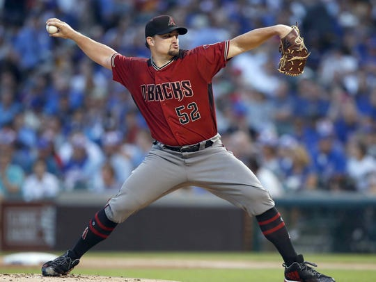 Diamondbacks starter Zack Godley pitches against the