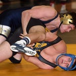 160 lb Roxbury's Craig Roumes takes down Vernon's Storm DiGuiseppe on the way to a pin during their dual meet at Pequannock High School. January 17, 2015. Pompton Plains, N.J. Bob Karp/Staff Photographer.