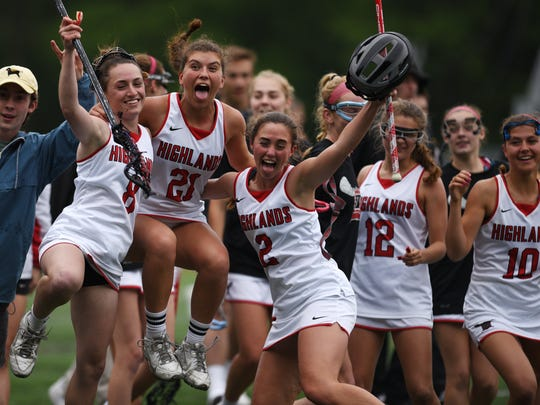 Girls lacrosse state sectional final between Northern Highlands and Immaculate Heart in the North 1, Group 3 tournament. on Thursday May 25, 2017. Northern Highlands celebrates after they win the tournament.