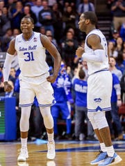 Seton Hall Pirates center Angel Delgado (31) celebrates against the Creighton Bluejays during the second half at Prudential Center.