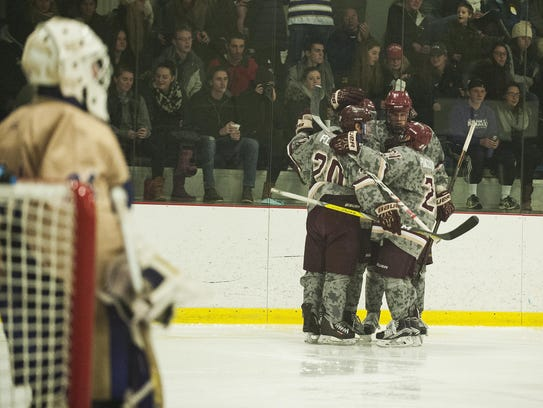 Norwich celebrates a goal during the men's hockey game
