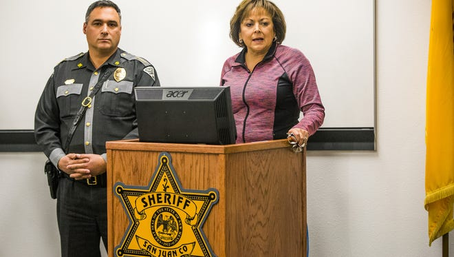 New Mexico Gov. Susana Martinez and New Mexico State Police Chief Pete Kassetas address the media on Dec. 8, 2017. They identified the gunman who shot and killed two students at Aztec High School on Dec. 7, 2017, as William Atchison, 21. The man then turned the Glock 9mm on himself.