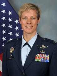 Brig. Gen. Kristin Goodwin, former commander of the 2nd Bomb Wing at Barksdale and current commandant of cadets at the U.S. Air Force Academy, spoke in Shreveport on Nov. 14.