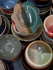 Here is just a small sampling of the more than 1,300 bowls created by the Las Cruces Potter's Guild for the 25th Anniversary Empty Bowls fundraiser for the El Caldito Soup Kitchen. 10/19/17 Gary Mook/ for the Sun-News