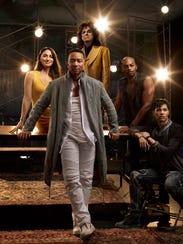 """Left to right, Sara Bareilles as Mary Magdalene, John Legend as Jesus Christ, Alice Cooper as King Herod, Brandon Victor Dixon as Judas Iscariot, Jason Tam as Peter in NBC's """"Jesus Christ Superstar Live in Concert."""""""