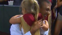 Brandon Spilker surprised his daughter at the Diamondbacks game on Monday night.