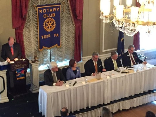 York County commissioners candidates debate at the Yorktowne Hotel on Wednesday.