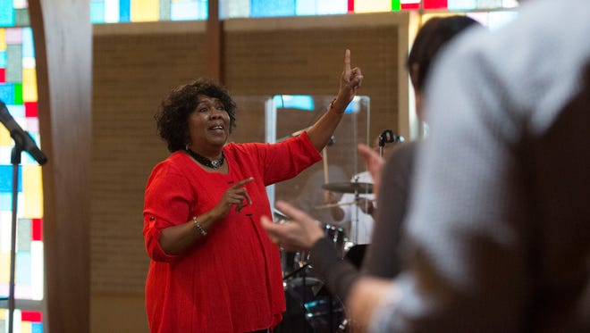 The Knoxville Opera Gospel Choir music director Jeanie Turner Melton leads rehearsal at Mt. Olive Baptist Church.