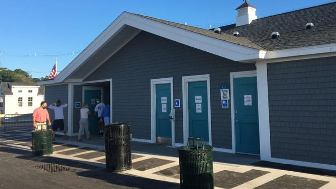 Members of the Ogunquit Select board hosted a walk-through Wednesday, July 29, 2020, of the newly renovated Main Beach bath house and lifeguard station.
