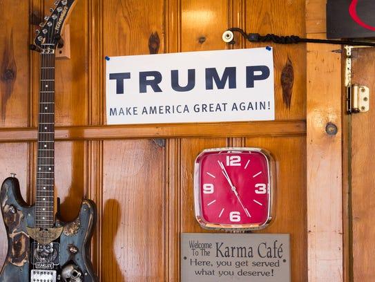 The Jones Diner in Towanda Pa, displays a Trump campaign
