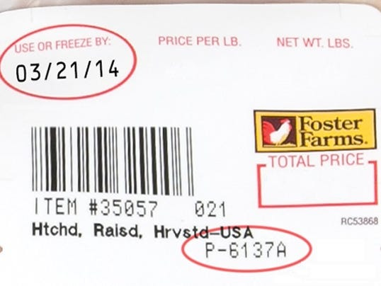 Foster Farms chicken label