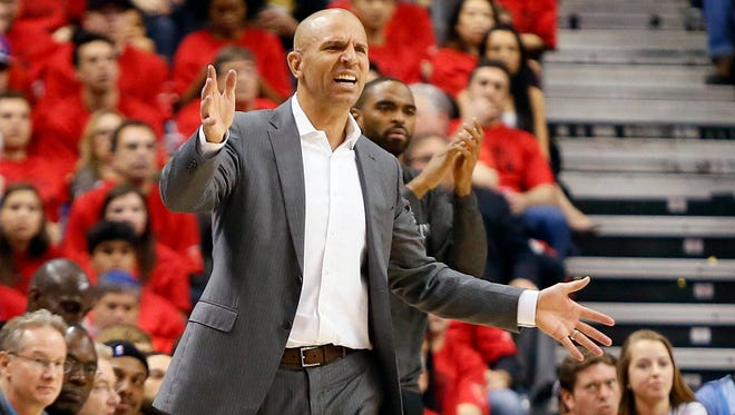 Brooklyn Nets head coach Jason Kidd  reacts to a call in game seven of the first round of the 2014 NBA Playoffs against the Toronto Raptors at the Air Canada Centre.