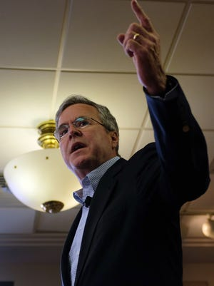 Republican presidential candidate, former Florida Gov. Jeb Bush speaks during a campaign event held at the VFW, Saturday, Jan. 30, 2016, in Clear Lake, Iowa.