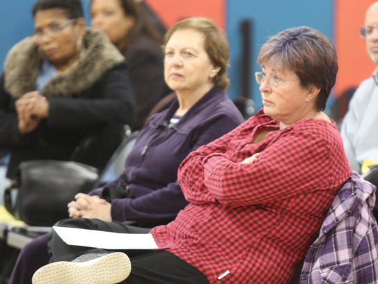 Kathy Tolf waits to speak during East Ramapo budget