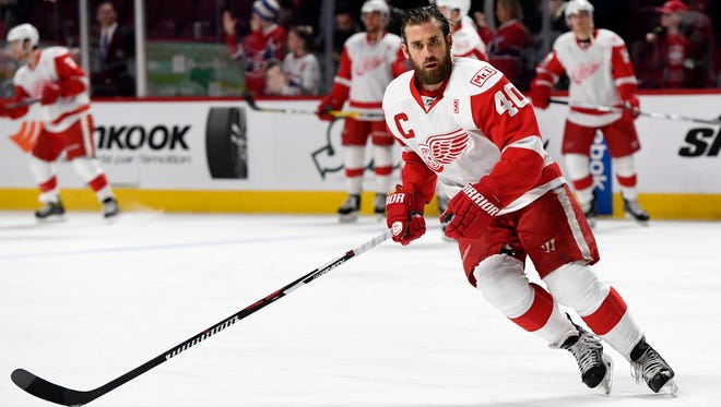 Red Wings forward Henrik Zetterberg (40) skates during the warmups Tuesday in Montreal.