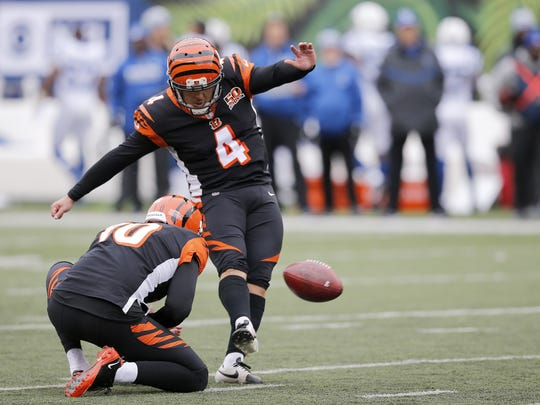 Cincinnati Bengals kicker Randy Bullock has made every kick since being challenged by Marvin Lewis in late November.