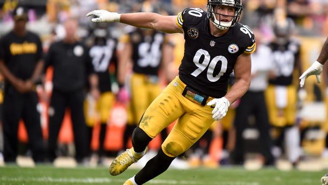 Pittsburgh Steelers outside linebacker T.J. Watt (90) plays against the Jacksonville Jaguars on Oct. 8, 2017, in Pittsburgh.