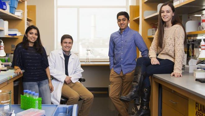 Rutgers senior biomedical engineering students (from left) Sudeepti Vedula, Charles Rabolli, Neel Nirgudkar and Sarah Salter.