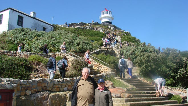 Edward and Linda Ginop of Levering, Mich. took the D to the Cape of Good Hope at the tip of South Africa on in April 2017 after a four-country tented safari in the African wilderness. Also on the trip were their daughter and son-in-law Laura and Scott Johncox from Warren.