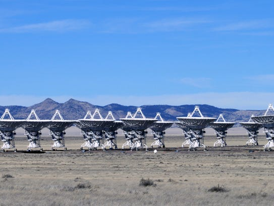 This Feb. 10, 2017 photo shows radio antennas that