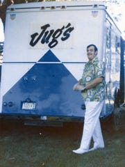 Jug Eckert with the first mobile Jug's Catering kitchen