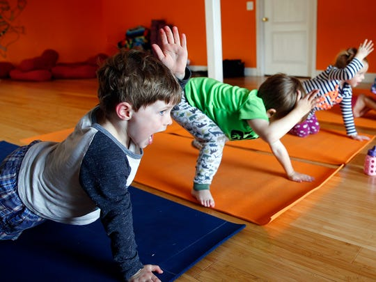 Matthew Flanagan, 4, Fair Haven, participates in the yoga class for kids at Coba Yoga in Little Silver.