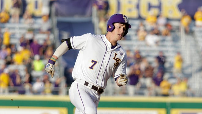 Greg Deichmann rounds third base on his way to an inside the park grand slam on Sunday 6/5/16 at Alex Box Stadium in the Baton Rouge Regional of the NCAA Division 1 Baseball Championship.
