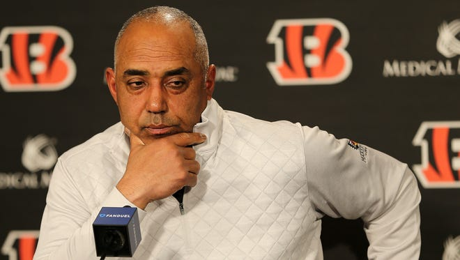 Cincinnati Bengals head coach Marvin Lewis takes questions from reporters on his future with the team, Monday, Jan. 1, 2018, at Paul Brown Stadium in Cincinnati.