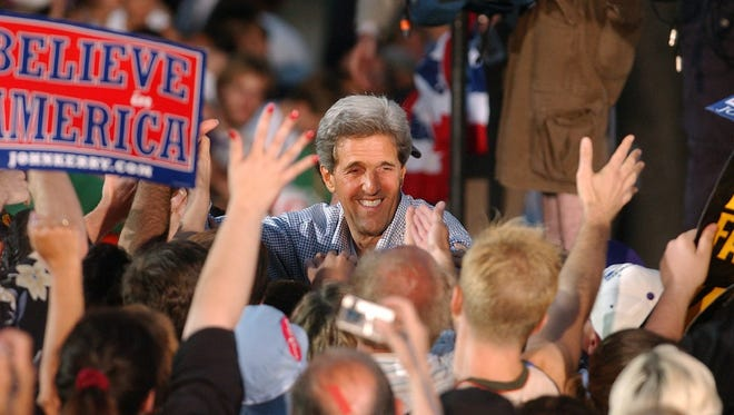 Democratic Presidential nominee John Kerry makes his first visit to Milwaukee, Wis., as the official Democratic nominee to a rally at Pere Marquette Park, Monday, August 2, 2004.
