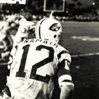 Jan 12, 1969; Miami, FL, USA; FILE PHOTO; New York Jets quarterback (12) Joe Namath takes the field after a victory against the Baltimore Colts in Super Bowl III at the Orange Bowl. Namath was the games most valuable player as the Jets defeated the Colts 16-7 to win the first ever Super Bowl title for the AFL. Mandatory Credit: Malcolm Emmons- USA TODAY Sports