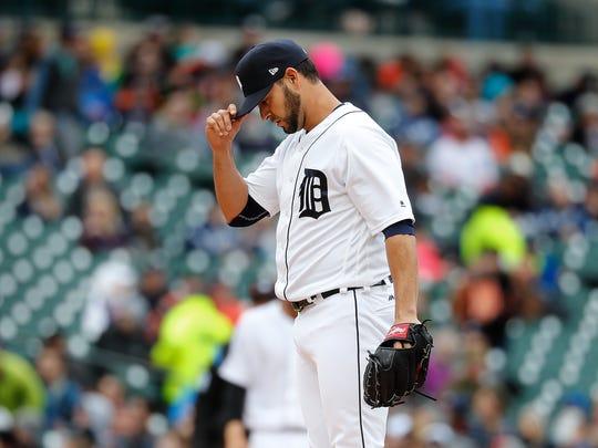 Detroit Tigers relief pitcher Anibal Sanchez reacts