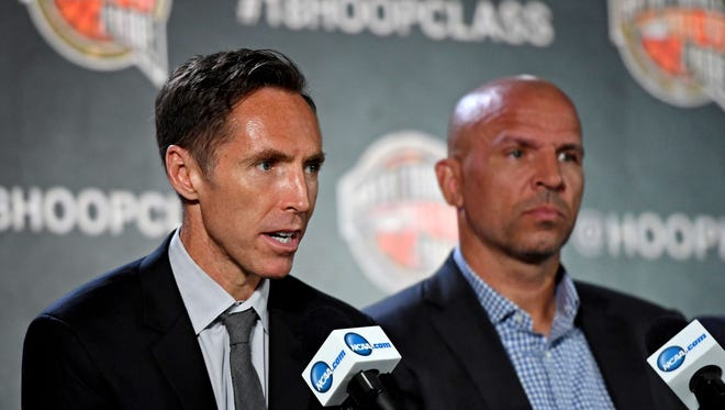 Former basketball player Steve Nash speaks during the NBA Hall of Fame press conference at the Alamodome.