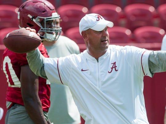 Alabama defensive coordinator Jeremy Pruitt as practice