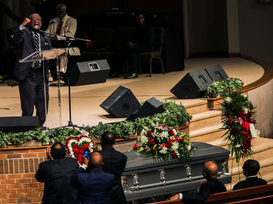 September 23, 2017 - Dr. Charles Steele, Jr., national president and CEO of the Southern Christian Leadership Conference (SCLC), delivers passionate remarks about his friend and colleague Rev. Dwight Montgomery during the funeral service celebrating Montgomery's life at Cummings Street Missionary Baptist Church at 8800 Winchester Road on Saturday. Montgomery was ordained at the church on December 7, 1975. He also served as president of the Memphis chapter of the SCLC. The ceremony was officiated by interim pastor Rev. Dr. Eddie M. Jones.