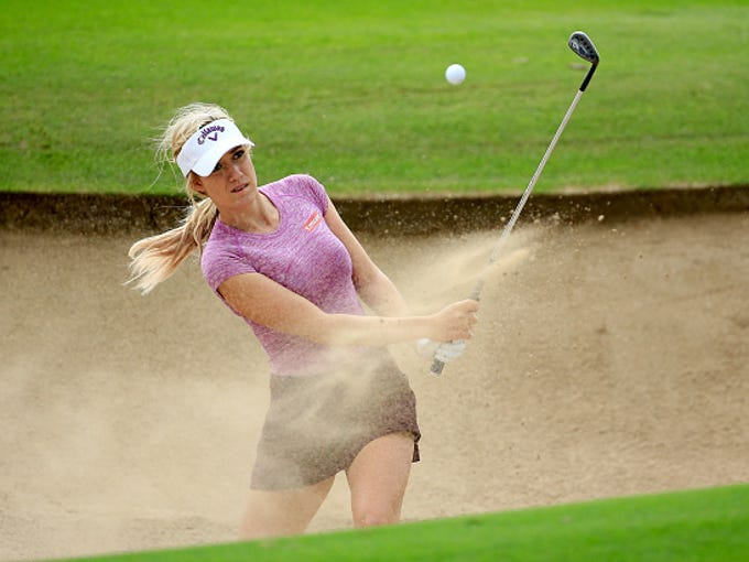 Paige Spiranac of the United States in action during
