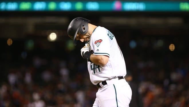 Diamondbacks first baseman Paul Goldschmidt reacts after flying out against the Los Angeles Dodgers in the 5th inning on May 1, 2018 at Chase Field in Phoenix, Ariz.