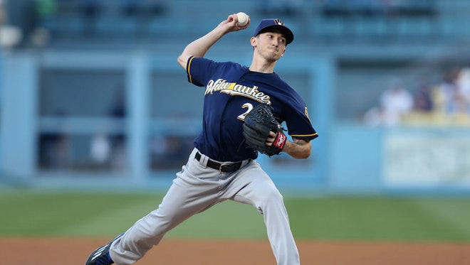 Brewers starter Zach Davies throws a pitch against the Los Angeles Dodgers on Friday, June 17.