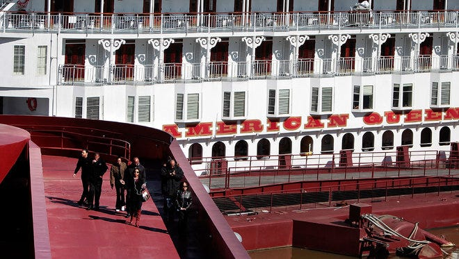 Passengers departed the American Queen in March for an excursion into Downtown Memphis. The cruise boat was docked at Beale Street Landing