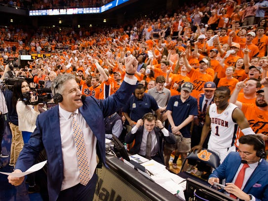 Auburn Tigers head coach Bruce Pearl celebrates after