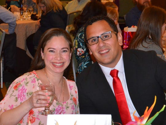 Daniel Gutierrez, with his wife at the awards program, a few minutes after being named Teacher of the Year for SPS.