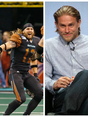 Rattlers WR Tysson Poots and actor Charlie Hunnam.