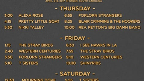 Schedule of bands at Spring Skunk Music Fest