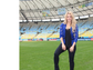 Shakira posed with a soccer ball in the Estadio Maracana in Rio de Janeiro, where the 2014 FIFA World Cup final would later take place.