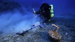 A previous dive at the site of the Antikythera wreck
