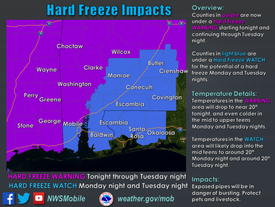 A Hard Freeze Watch has been issued for Escambia and