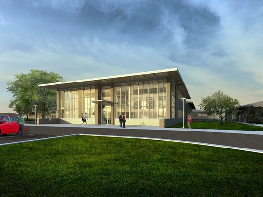 An illustration of the Everett Roehl STEM building,